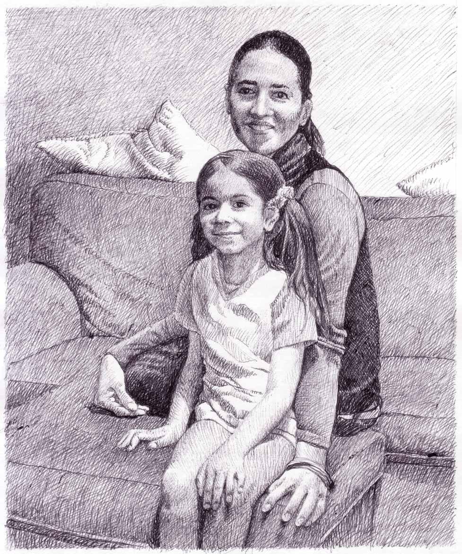 """Studio per - """"Ritratto-di-famiglia"""" - 18x15 cm - 2009 - inchiostro su carta"""