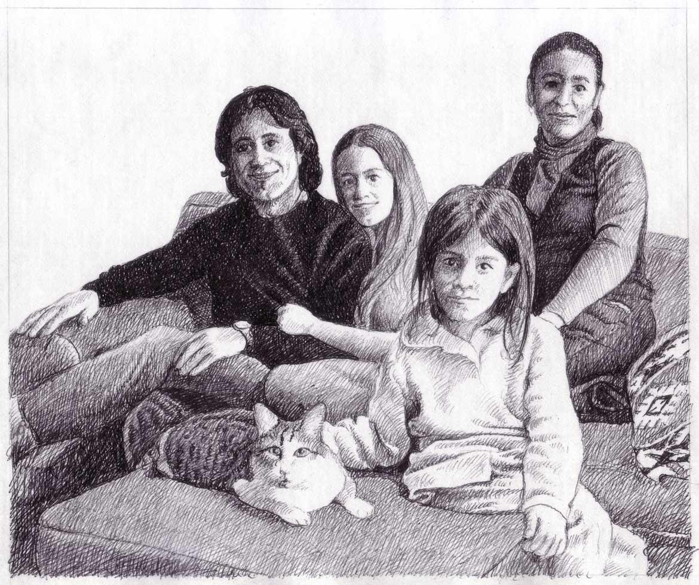"""Studio-per """"Ritratto-di-famiglia"""" - 15x18 cm - 2009 - inchiostro su carta"""