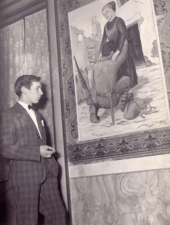 """Luigi Volpi con l'opera """"il ritorno del fante""""- Lodi - 1957"""