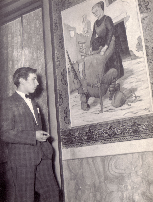 """Luigi Volpi con l'opera """"il ritorno del fante"""", Lodi, 1957"""