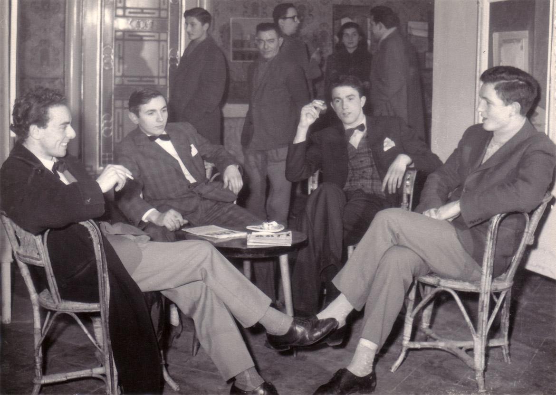 Da sinistra: Felice Vanelli, Luigi Volpi, Ugo Maffi, Attilio Ronchetti, Lodi, 1958