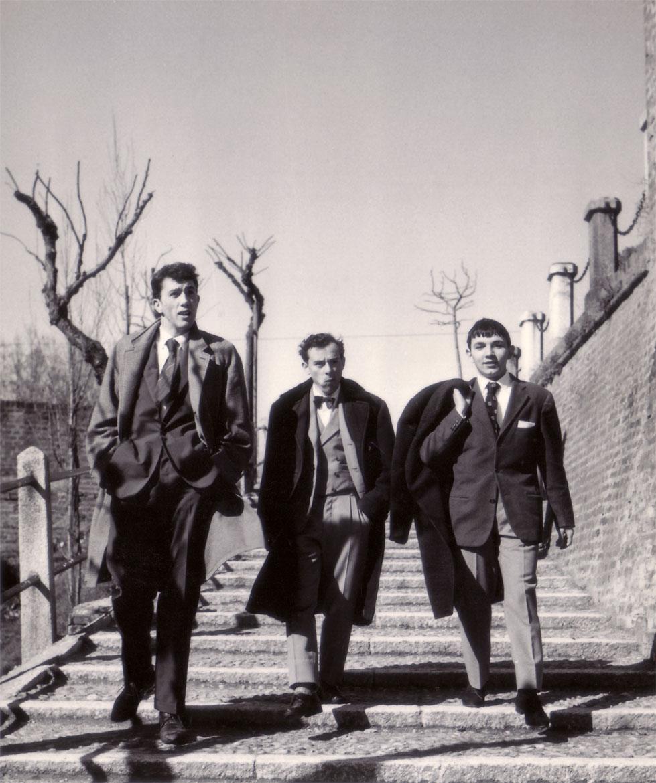 Da sinistra, Ugo Maffi, Felice Vanelli e Luigi Volpi - Lodi - salita Federico II - 1959