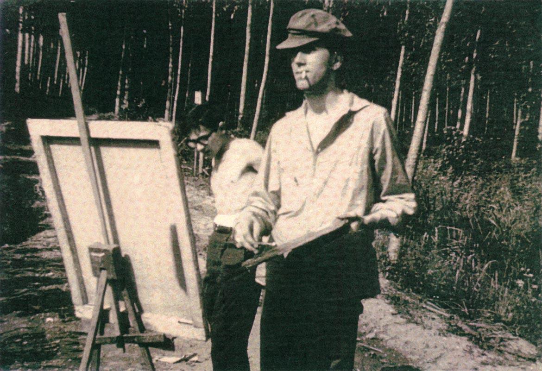 Ugo Maffi e Luigi Volpi (a-sinistra) sulle rive dell'Adda - Lodi - anni '60