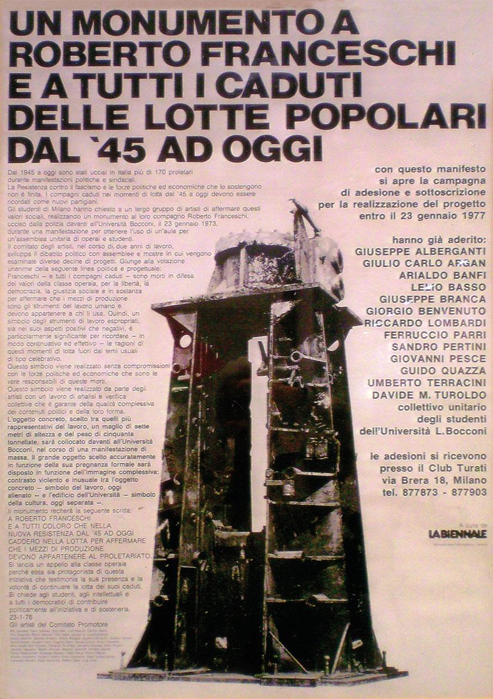 """Manifesto del progetto """"Un monumento a Roberto Franceschi"""",  Luigi Volpi tra i quaranta firmatari del progetto presentato alla Biennale di Venezia del 1977"""