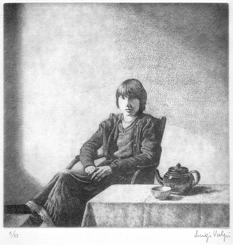 Figura femminile in un interno - 18x18 - 1982 - acquaforte