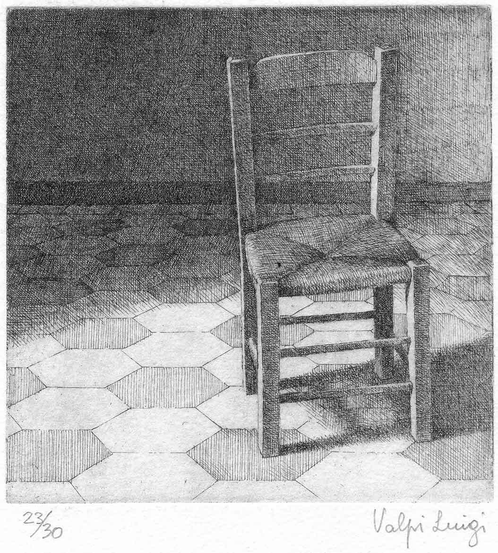 La sedia - 11x11 - 1982 - acquaforte