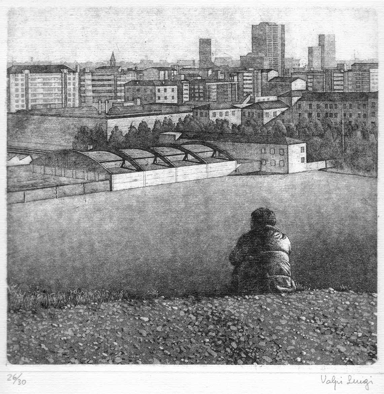 Paesaggio con figura - 19x19 - 1982- acquaforte