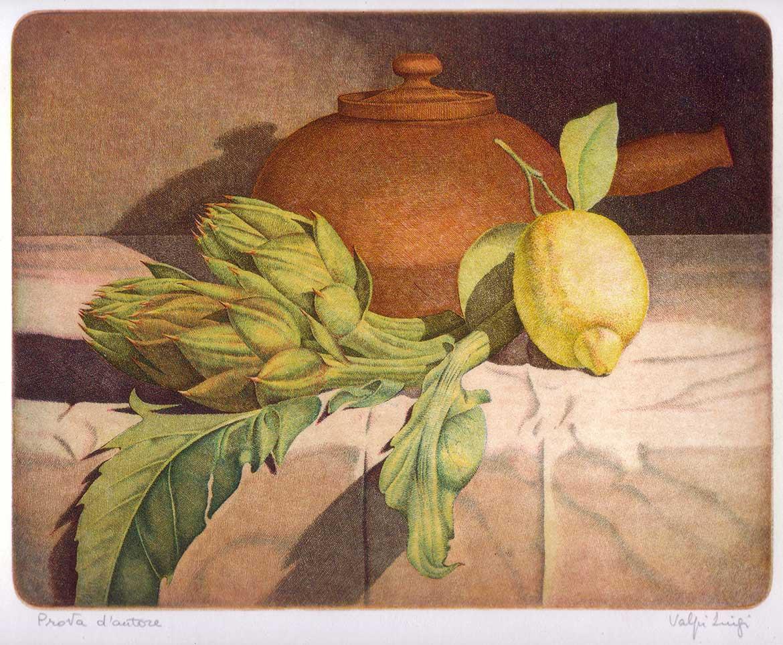 Carciofi e limone - 20x25 - 1986 - acquaforte quattro matrici