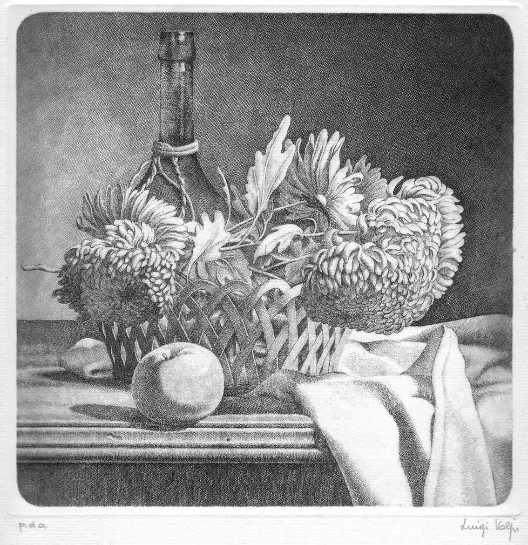 Natura morta con fiori nel cesto - 20x20 - 1986 - acquaforte