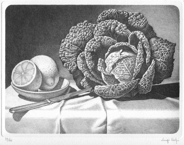 Verza e limone - 18x24 - 1986 - acquaforte