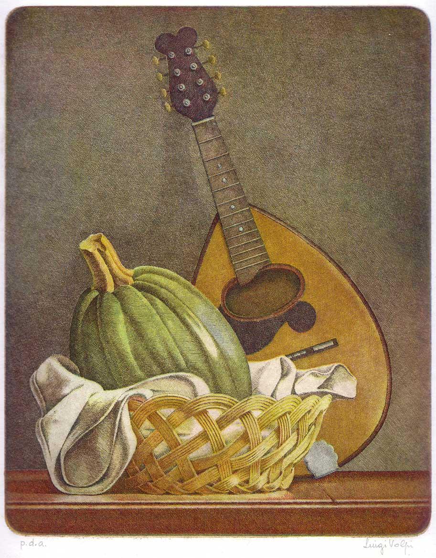 Zucca e mandolino - 25x20 - 1986 - acquaforte quattro matrici