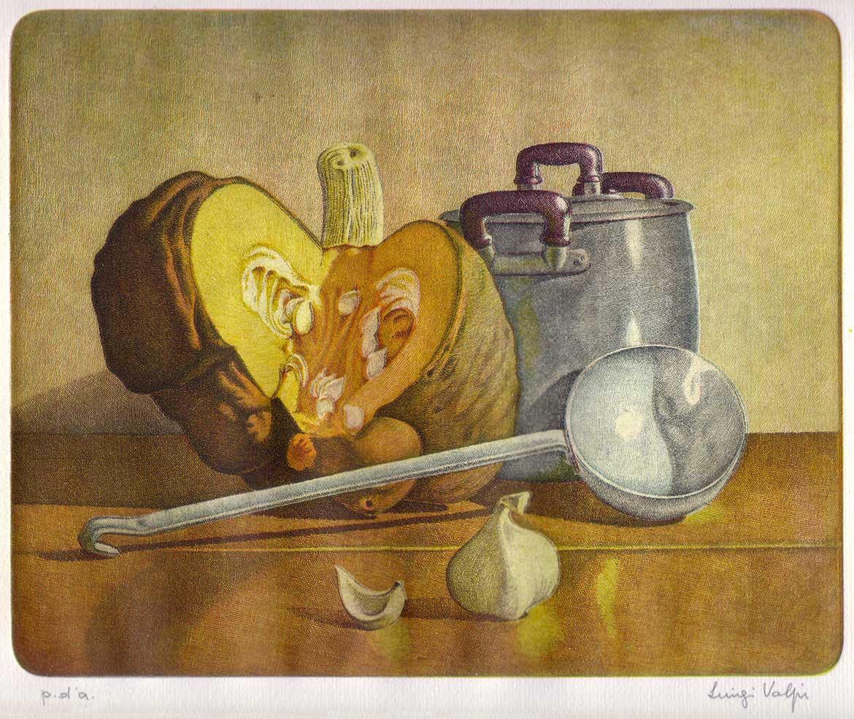 Zucca e pentola - 20x25 - 1986 - acquaforte quattro matrici