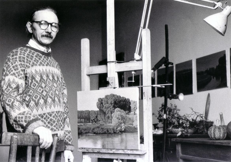 Luigi Volpi nella casa di Valbissera, San-Colombano, metà anni '90