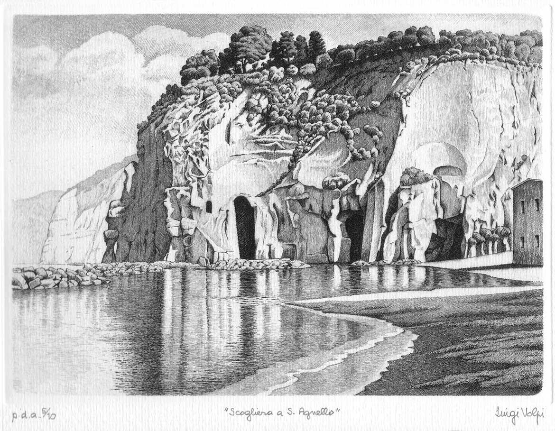 Scogliera a S. Agnello - 18x25 cm - acquaforte