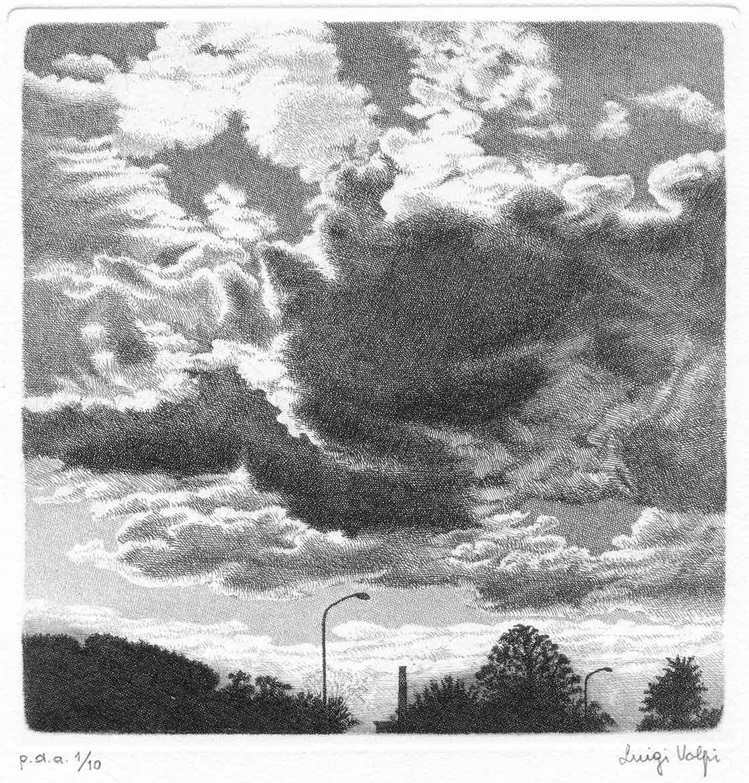 Cielo e nuvole (cirri e nembi) - 15x15 cm - 1991/1995 -acquaforte