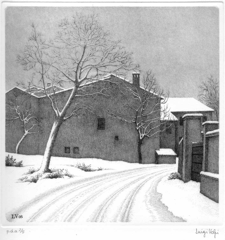 Nevicata a Camporinaldo (Miradolo Terme, Pavia) - 20x20 cm - 1992 - acquaforte