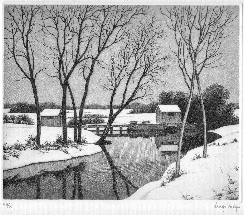 Nevicata sul Sillaro - 19x23 cm - 1992 - acquaforte