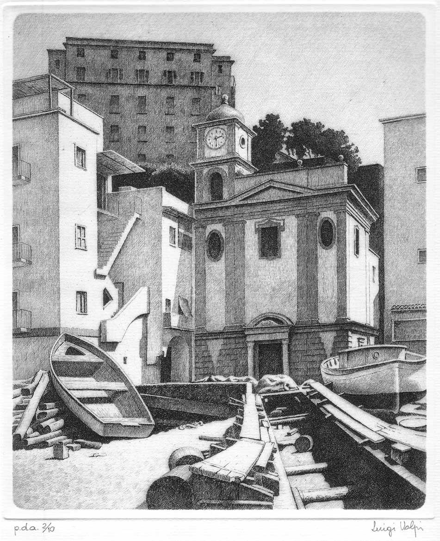 Chiesa di Marina Grande, Sorrento - 23x19 cm - 1994 - acquaforte