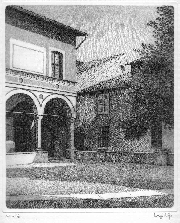 Cortiletto dei Canonici (Lodi) - 24x20 cm - 1996/2001 - acquaforte