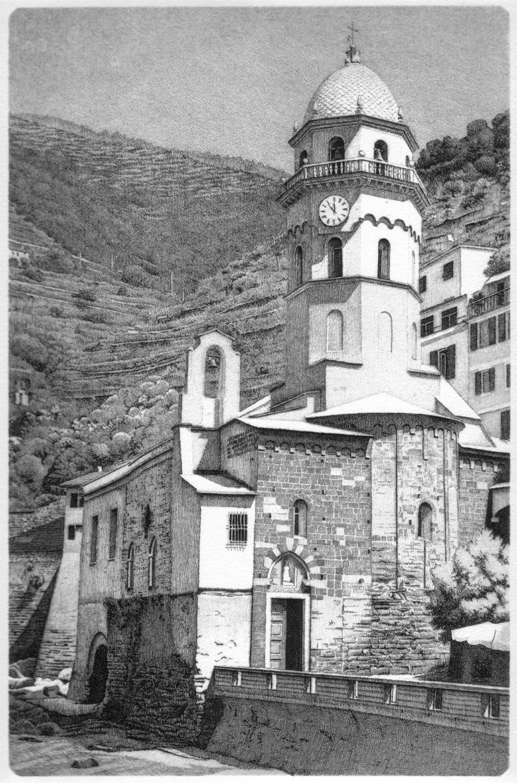 S. Margherita d'Antiochia (Vernazza-La Spezia) - 30x20 cm - 1998 - acquaforte