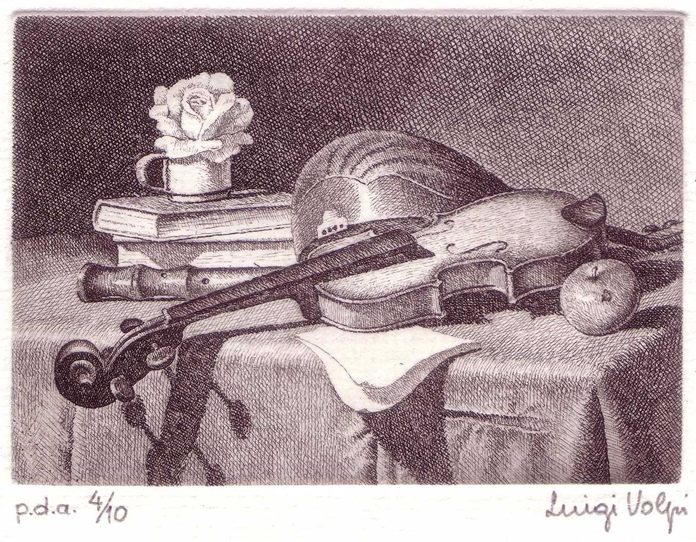 Alla maniera di Baschenis, 6x9 cm, acquaforte, 2000
