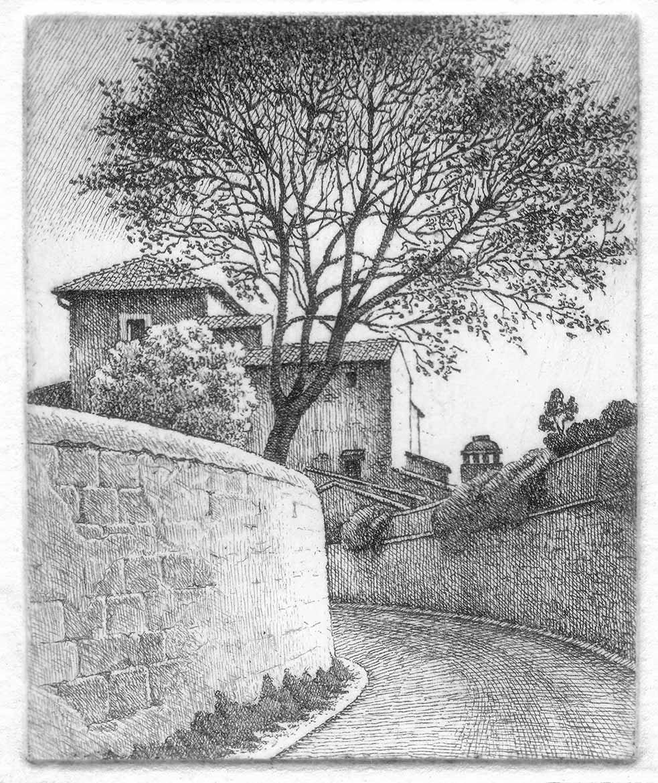 Strada e albero - 7x9 cm - 2004 - acquaforte