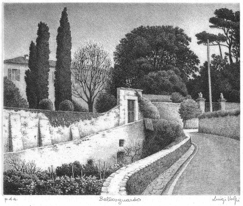 Strada per Bellosguardo (Pisa) - 15x18 cm - 2004 - acquaforte