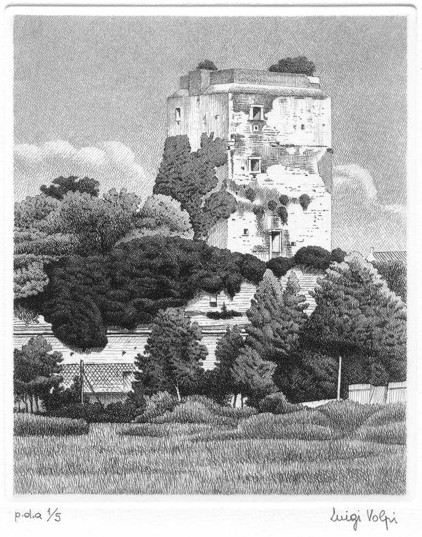 Torre a via Nicola (Il segreto) - 16x13 cm - 2006 - acquaforte