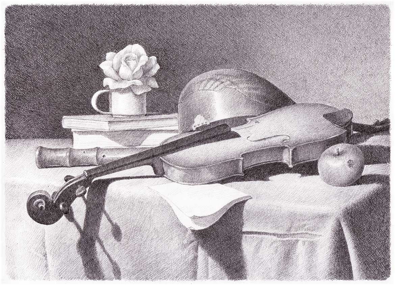 Alla maniera di Baschenis - 20x28 cm - 1994 - matita su carta
