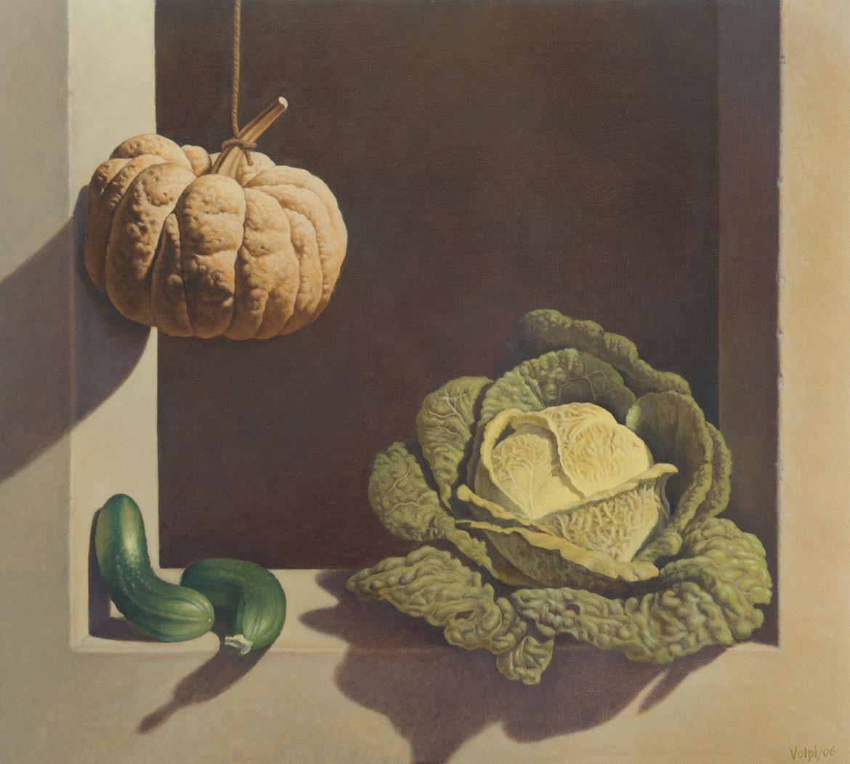 Alla maniera di Juan Sanchez Cotan, 30x36 cm, 2000, olio su tela