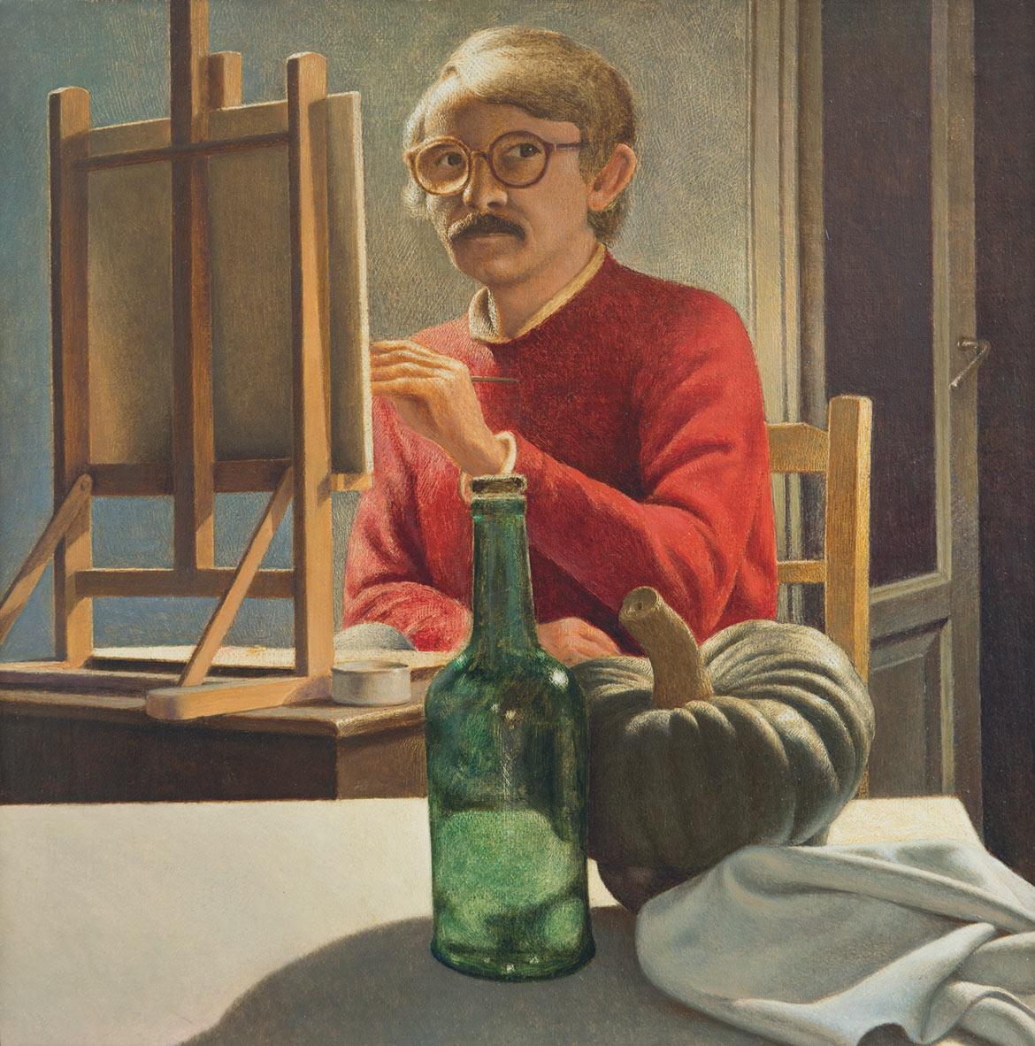 Autoritratto - 27x27 cm - 1990 - olio su tela riportata su tavola