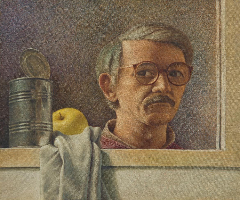 Autoritratto - 27x32 cm - 1990 - olio su tela riportata su tavola