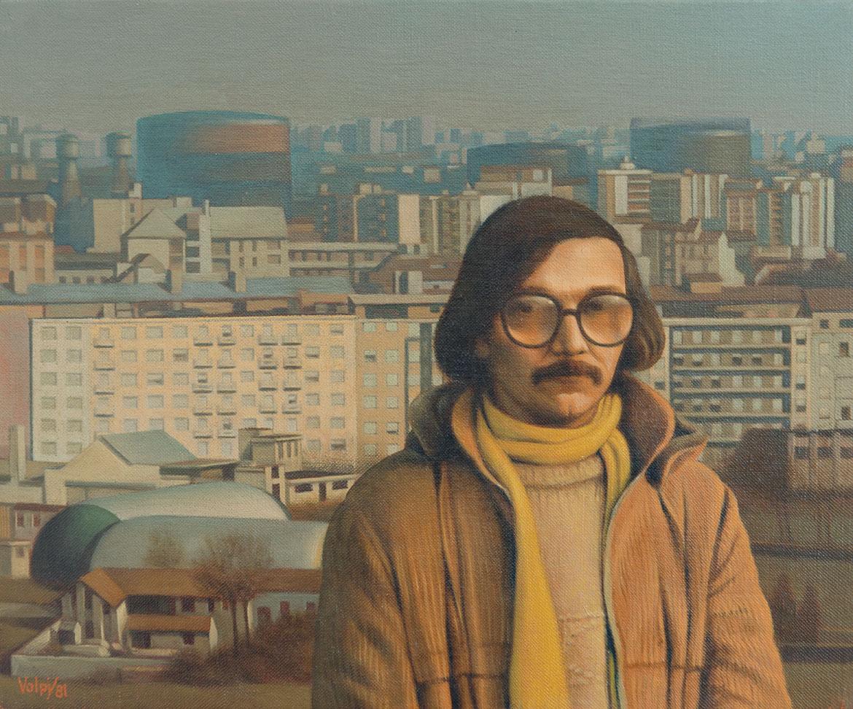 Autoritratto con Milano - 25x30 cm - 1981 - olio su tela