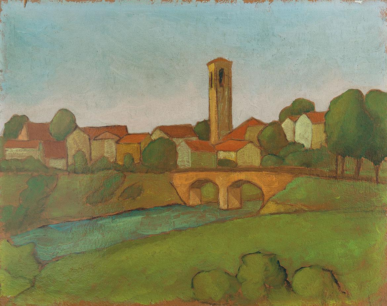 Borgo sul fiume - 49x39 cm - 1957 - olio su masonite