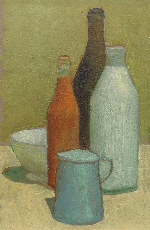 Bottiglie - 29x39 cm - 1958 - olio su tela