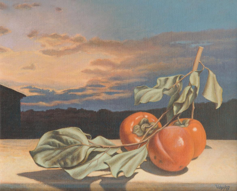 Cachi e tramonto - 24x30 cm - 1997 - olio su tela