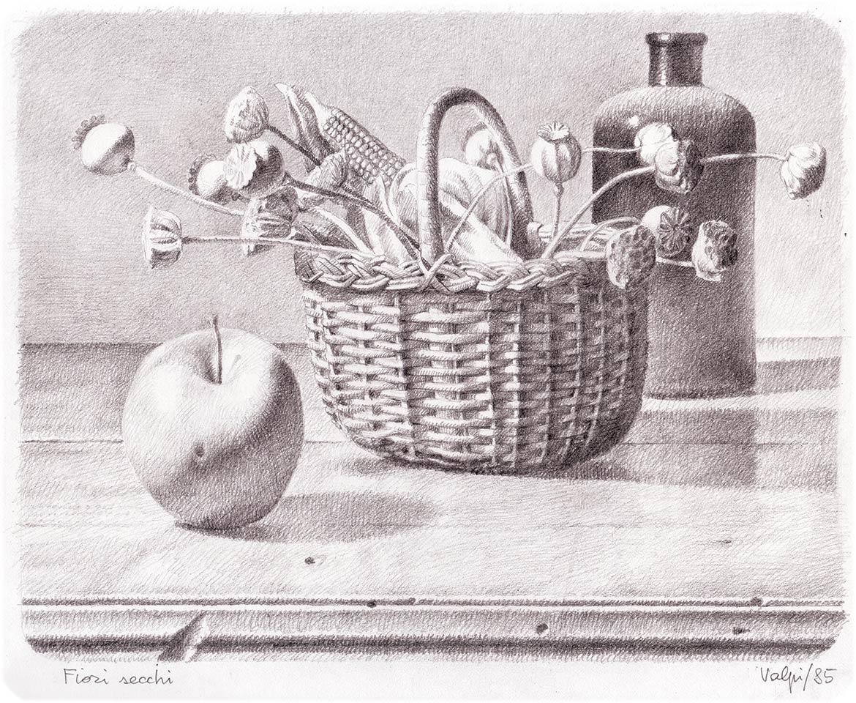 Cesto di fiori secchi - 19x23 cm - 1985 - matita su carta