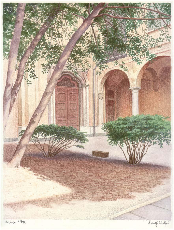 Chiostro di Santa Chiara Nuova, Lodi - 26x20 cm - 1996 - pastello su carta