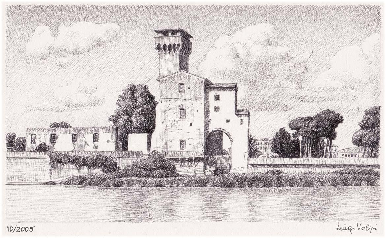 Cittadella lungo il fiume, Pisa - 12x18 cm - 2005 - inchiostro su carta