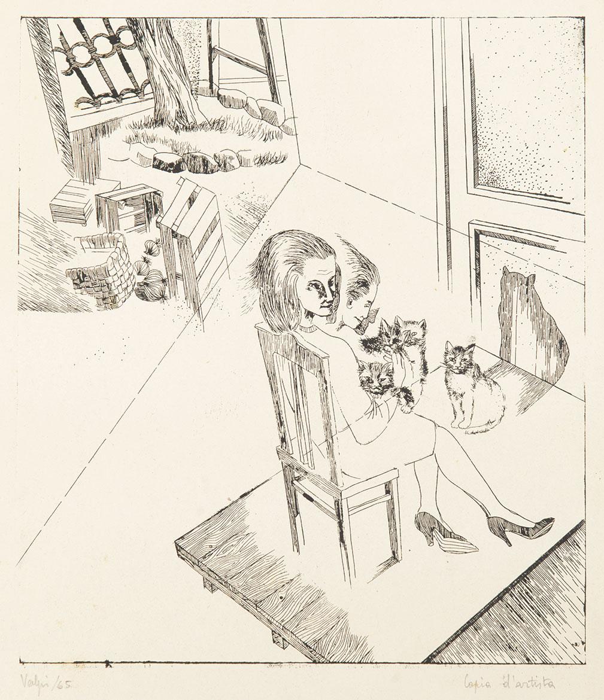Donna con gatti - 28x25 cm - 1965 - monotipo calcografico