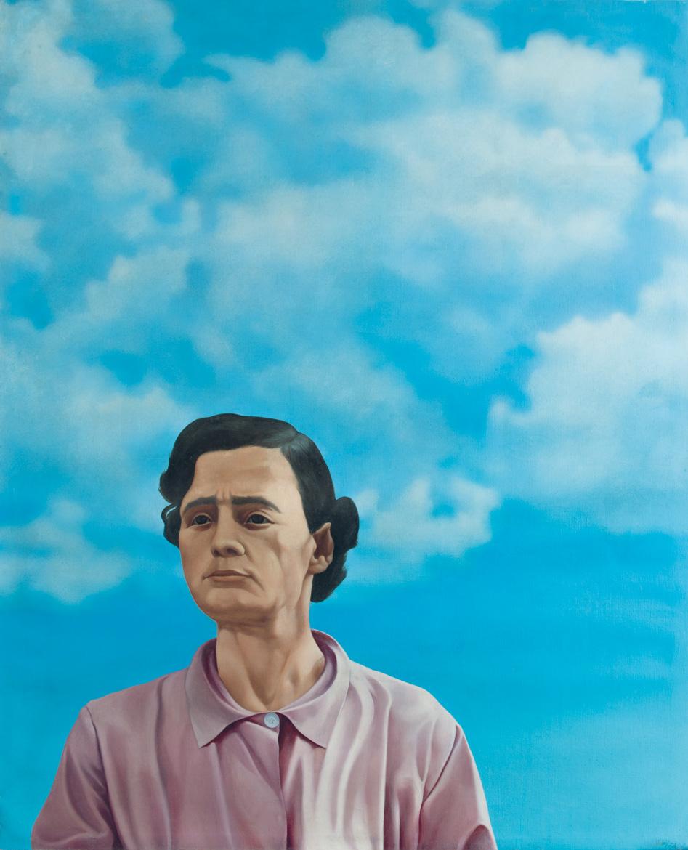 Donna e nuvole - 89x80 cm - 1973 - olio su tela