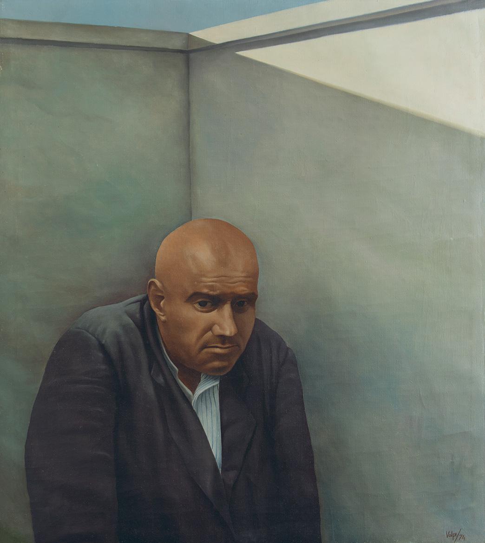 Figura Nell'angolo - 90x80 cm - 1974 - olio su tela