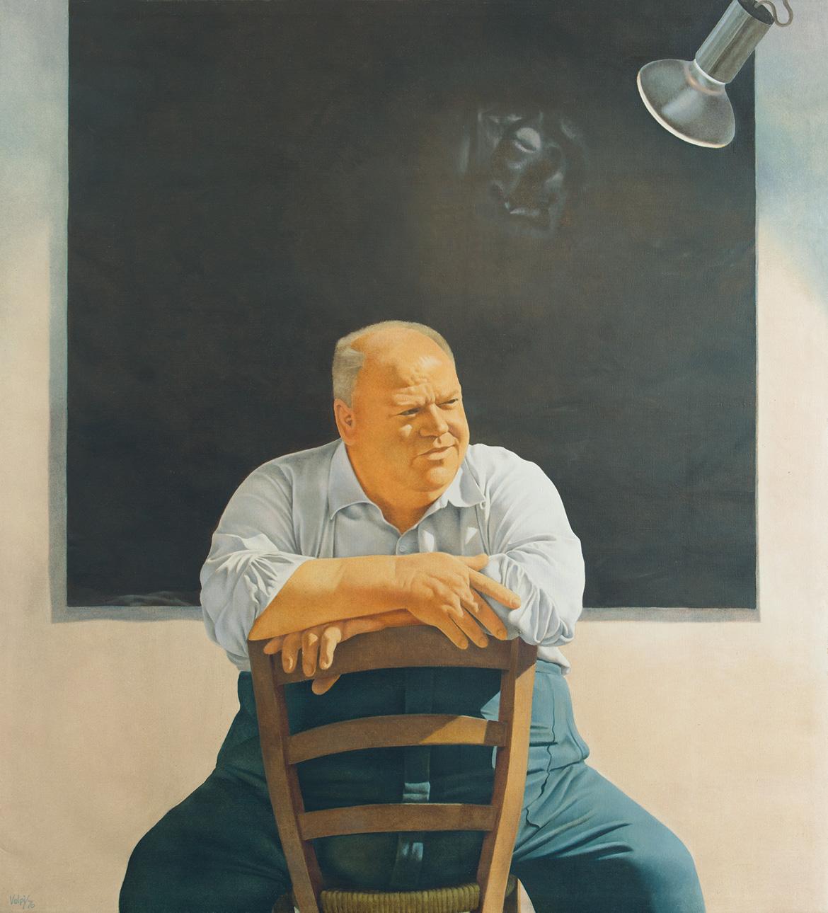 Figura-sulla-sedia---110x100-cm---1976---olio-su-tela