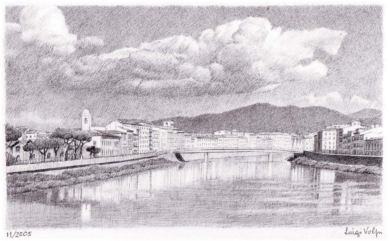 Fiume Arno, Pisa - 12x20 cm - 2005 - inchiostro su carta