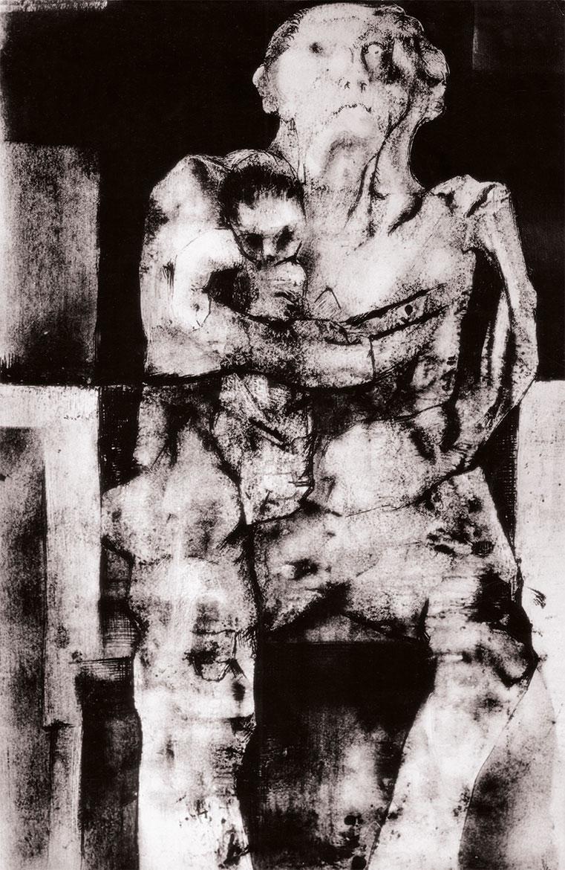 Materntà atomica, 80x70 cm, 1965, grafite e inchiostro su carta