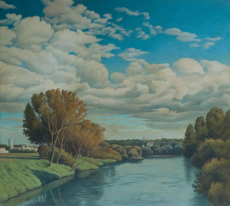 Il fiume - 45x50 cm - 1993 - olio su tela riportata su tavola