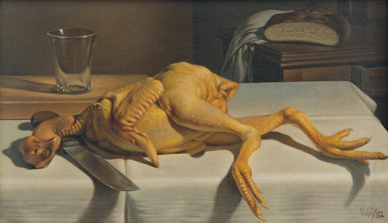 Il pollo - 20x34 cm - 1982 - olio su tela riportata su tavola