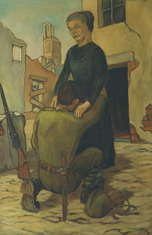 Il ritorno del fante - 146x95 cm - 1956 - olio su tela