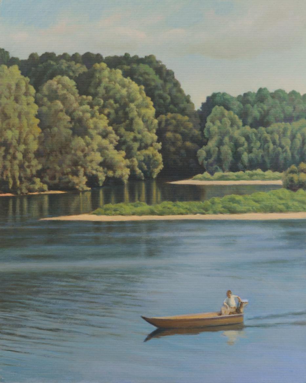 In barca sul fiume - 40x32 cm - 1999 - olio su tela