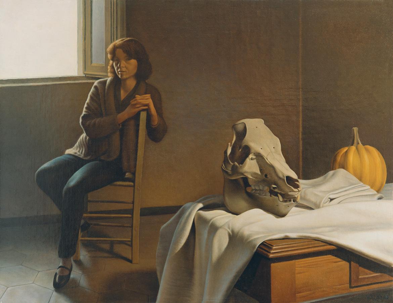 Interno con figura - 37x48 cm - 1983/84 - olio su tela